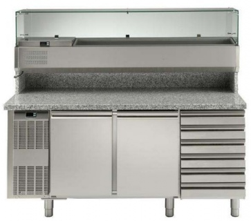 Electrolux 2 Door & 6 Drawer Refrigerated Pizza Counter with Refrigerated Show Case