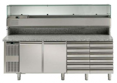 Electrolux 2 Door & 12 Drawer Refrigerated Pizza Counter with Refrigerated Show Case