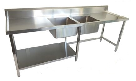 Twin Bowl Sink Bench E18 2400mm