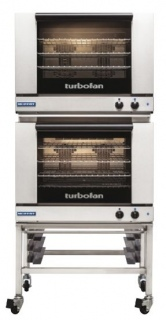 Turbofan E28M4/2C Manual Electric Convection Ovens Double Stacked With Castor Base Stand